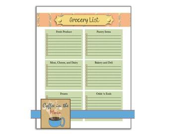 Printable Grocery List Home Organization Cooking Printable