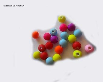 Set of 20 neon beads