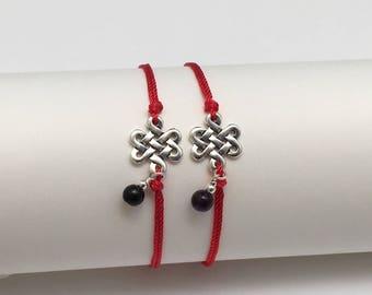 Couples Bracelets, Gift Set of Red String Bracelets, Amethyst Charm, Obsidian Charms Natural Silk Strings, Best Friends, Friendship Bracelet