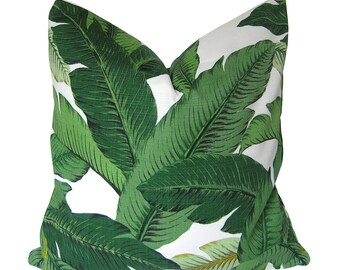 Custom Pillow Cover / Palm Leaves Pillow / Swaying Palms Tommy Bahama / Aloe Green / Botanical Tropical / Both Sides / Made to Order