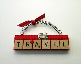 Travel London Double Decker Bus Scrabble Tile Ornament