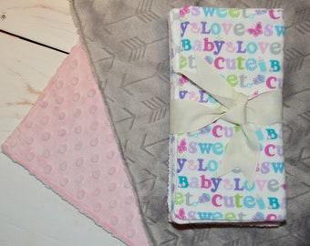 "Loveys + Burp Cloths Bundle - Two Loveys 18"" + Burp Cloths Bundle - baby shower gift - 10% off - baby girl gift - burp cloths - pink baby"