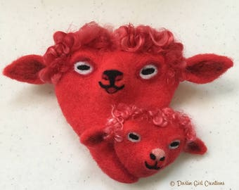 Sweetheart Valentine Mommy and Baby Sheep, Ewe and Lamb Hearts, 100% Wool Needle Felted Valentines