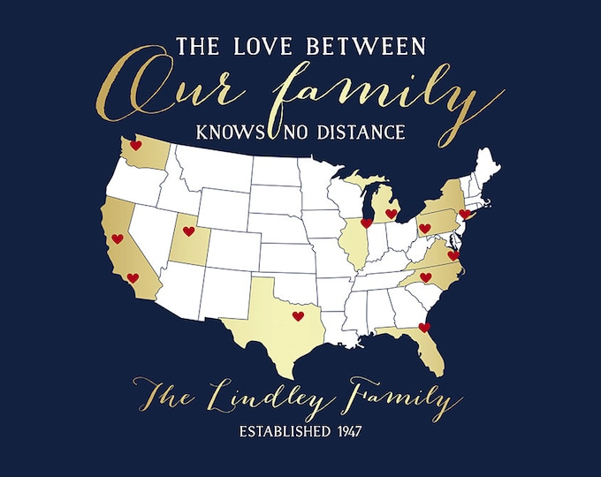 Featured listing image: Custom Gift of Family Locations, Art Print of Map, Gold, Relatives, Aunt, Cousins, Sister, Brother, Mom, Dad, Parents, Thank You | WF390