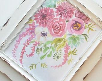 Cranberry Floral Art Print (Watercolor Illustration - Floral Art Print - Art - Home Decor - Wall Art - Farmhouse Decor)