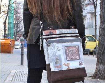 Bag set, 4 pcs., shopper, imitation leather, cotton fabric