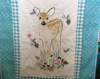 SALE  Fawn Baby Quilt Gender Neutral Wall Hanging Stroller Lovey