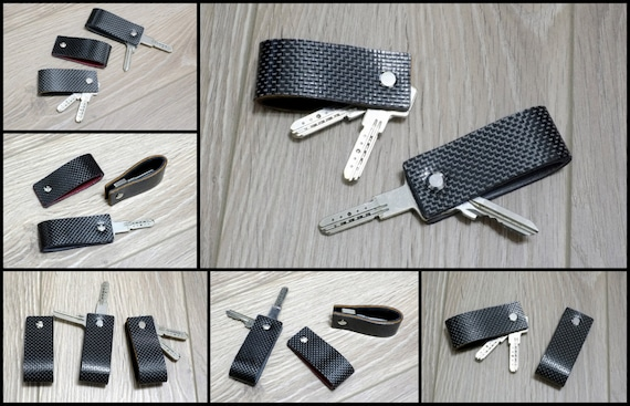 Carbon Fiber & Leather Key Holder - Double Face - Slim Keychain Minimalist Key Case Holder Gift for Men's and Womens  Only 12 grams
