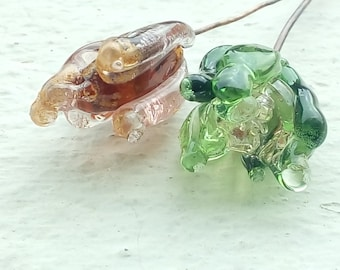 Pair of glass Lampwork on copper wire