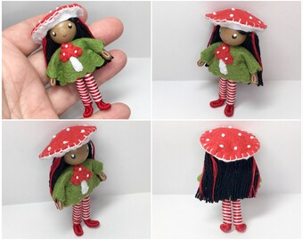 Toadstool Bendy Doll- Mushroom Girl- Waldorf Felt Doll- Woodland- Nature Table Doll- Felt Bendable Doll- Brown Black African American