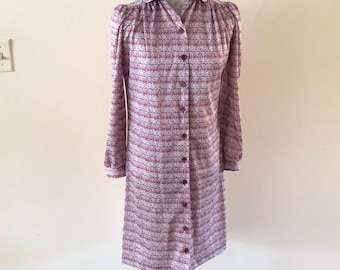 1970s shirt dress Pink floral house dress smock dress sz M/ L