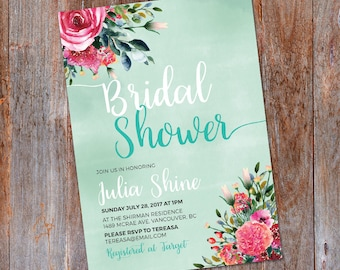 Floral Bridal Shower Invitation, Bridal Shower Invite, Printable Invitation, Shower invitation, Bridal Invitation, Floral Wedding shower