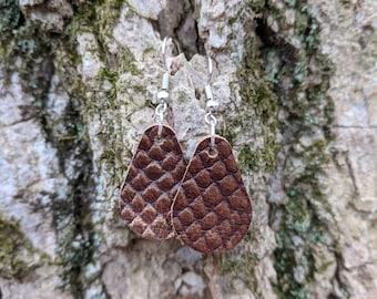 Handmade Italian Leather Teardrop Earrings - Dragon Scale Teardrop