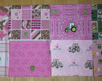 Pink - 8 JOHN DEERE Fabrics 1/2 yard each Fabric LOT Tractor Farm