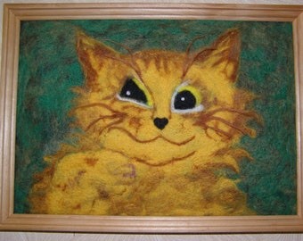 Felt wool hand made art painting with sunny cat. Gift.2D Needle Felted Picture.OOAK