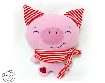 Stuffed pig, plush stuffed animal, kawaii pig, piggy plush toy, toddler gift, toddler toy, baby shower gift, handmade toy, soft piglet doll