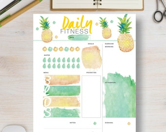 FITNESS Planner. Pineapple fitness printable.  Daily fitness agenda includes sizes A4, A5, Letter & Half Letter. Fitness organizer   #617