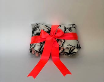 Palm trees and pompoms reusable fabric gift wrapping - S/M/L