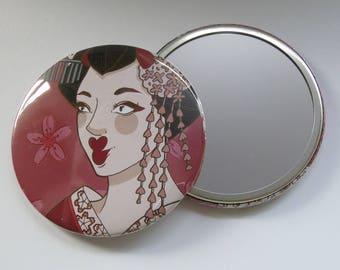 Illustrated Pocket Mirror/ Compact Mirror 76mm Geisha 2