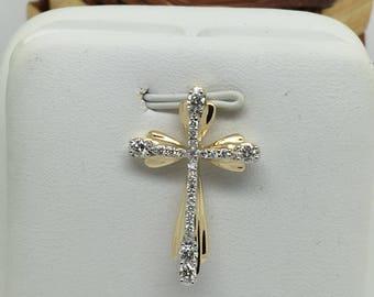 14K Two-Tone Gold Natural Genuine Diamond Cross Pendant
