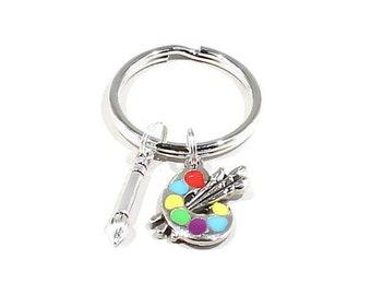 Artist Key Chain, Artist Palette Charm, Artist Gift, Gift for Teacher, Art Keychain, Love to Paint, Art Teacher Gift, Gift for Painter, Gift