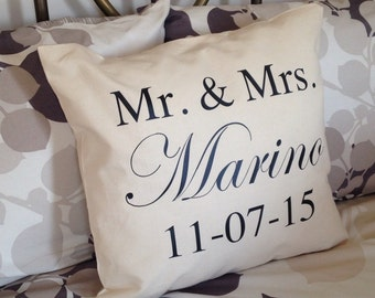 Mr. and Mrs. Personalized Wedding Pillow with Bride and Groom Last Name and Establishment Date Burlap and Muslin Pillow Anniversary Wedding