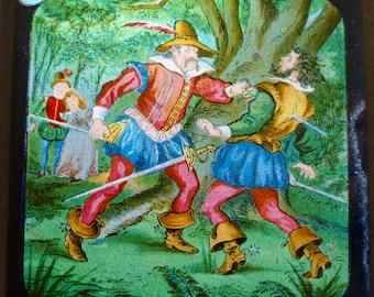 Magic Lantern Slide - Sword Fight Between Two Tudor Men