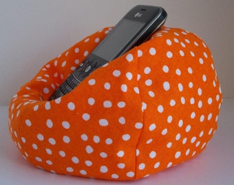 Small cell phone bean bag chair orange with white dots