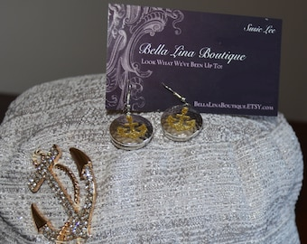 Swarovski Crystal Nautical/Cruise Anchor Hat with Matching Anchor Earrings - Adult Ladies Sm-Med.READY TO SHIP