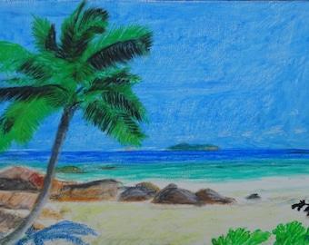 Paradise Oil Pastel Painting