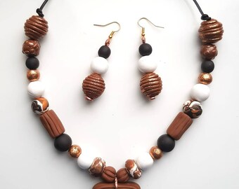 Caramel2 Jewellery Set, Knecklaces and Earrings, Gift Idea, Gift for Her, Handmade, Statement Jewellery, Brown, Designer, Limted Edition.
