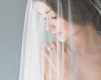 Silk Wedding Veil, Silk drop veil with Blusher, Ivory Silk Wedding Veil, Silk Blusher Veil, Silk Veil, Silk Bridal Veil, Sheer silk veil
