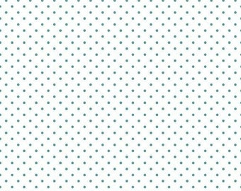 20% OFF Riley Blake Basic Teal Swiss Dots on White