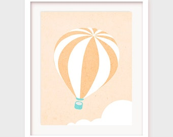 Printable Nursery Art, Hot Air Balloon Art, Hot Air Balloon Decor, Hot Air Balloon Decoration, Nursery Printable, Nursery Wall Decor