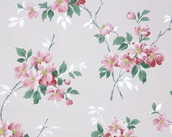 1940s Vintage Wallpaper by the Yard - Floral Wallpaper with Pink Dogwood Blossoms