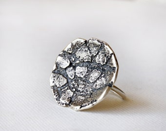 Lace Statement Ring, Lace Silver Ring,  Organic Design