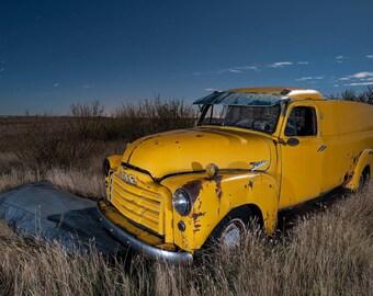 Vintage GMC Truck, Old GMC, Yellow GMC, Rural Landscape, Night Photograph, Wall Art, Farm Art, Rural America, Night Sky
