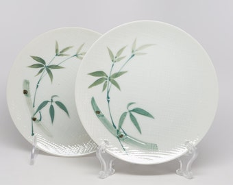 """1950 Bamboo Pattern , """"Orient 350"""", Porcelain, Japan, (2) 6-1/4"""" Diameter Dessert Plates, MINT Condition,  Bamboo Stem and Leaves."""