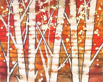 "Autumn Tree alcohol ink art by Yolanda Koh, red, gold, yellow, orange, green, blue, brown, tree art, 8"" x 8"""