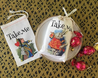 RESERVED TAKE ME Alice in Wonderland Party Favor Bags 50 8x10 Classic Designs | Onederland Bags | Bridal Baby Shower | Take Me Party Favor