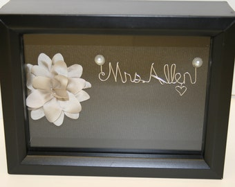 Wedding Gift. Gift for bride. Mother  of the Bride Gift. Bridal Shower Gift. Wire Name. Shadowbox.