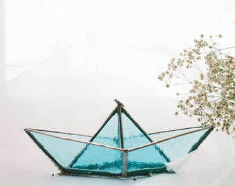 Stained-glass boat for an interior