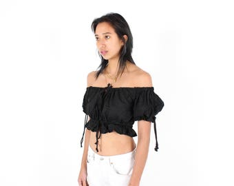 Adorable OFF SHOULDER Black Cotton Doll Puff Sleeve Super Cropped Crop Top ////