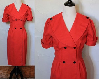 Vintage 1980s Red Button Dress with Pleats