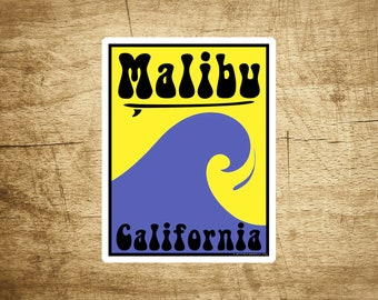 "Malibu Beach California Sticker Decal Beach Ocean Surfing Vinyl 2 7/8"" x 3 3/4"""