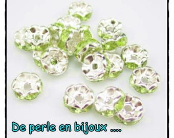 10-pcs-Pearl rondelle 8 mm spacer metal silver 8mm lime green rhinestones