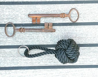Black Rope Keyring, Nautical Chunky Knot, Ideal Gift for Sailor, Knotted by Hand, Marine Rope. Monkey Fist Knot.
