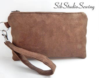 "Brown Suede Clutch, 9 x 5.5 inches,Fits iPhone 8 Plus, 7 Plus, & 6 Plus, Smartphones up to 7 "" Length, Interior Pockets, Smartphone Clutch"