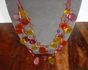 Vintage Boho Art Glass Beaded Necklace 3 Strands