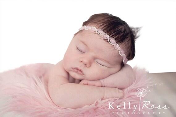 Pearls Headband, Pink Baby Headband, Pink Headband, Halo Headband, Infant Headbands, Baby Headband, Newborn Headband
